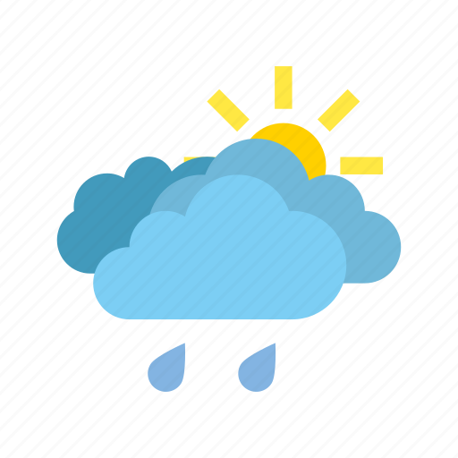 cloudy, light, partly, rain icon