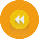arrow, arrows, back, backward icon, music, player icon icon