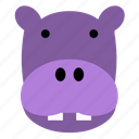 cute, face, happy, head, hippo, safari, zoo icon