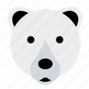 bear, cute, face, happy, polar, winter, zoo icon