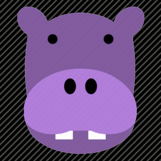 cute, face, happy, head, hippo, safari, zoo icon