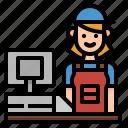 cashier, commerce, job, shopping, supermarket icon