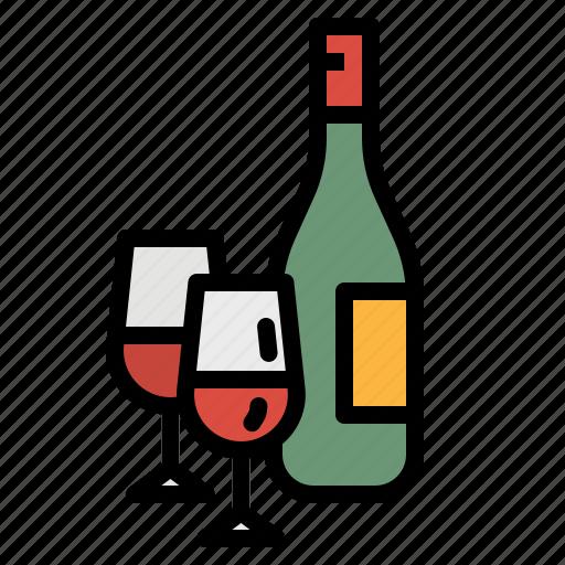 bottle, food, glasses, kitchen, wine icon