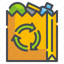 bag, environment, food, paper, recycled, shopping, supermarket icon