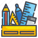 box, eraser, material, office, pencil, ruler, stationery