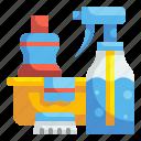 bucket, cleaning, household, housekeeping, spray, tool, washing