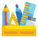 office, pencil, box, material, eraser, ruler, stationery icon