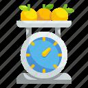 fruit, kilogram, orange, scales, supermarket, tool, weight icon