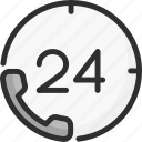 24h, desk, faq, help, phone, support, tube icon