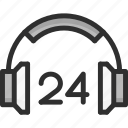 24h, desk, faq, headphones, headset, help, support icon