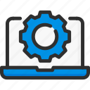 cogwheel, desk, faq, help, laptop, settings, support icon