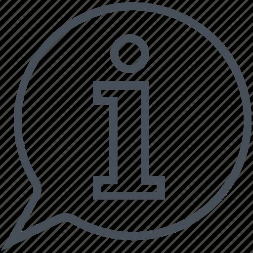 chat bubble, info, info desk, information, letter i, speech bubble icon