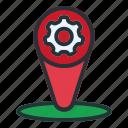 setting, location, map, pin, navigation, gps