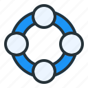 circle, support, system, help, arrow, down