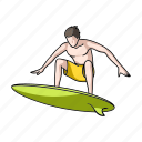 attribute, beach, board, recreation, sport, surfer, surfing icon
