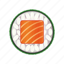 asia, asian, cuadrado, delicacy, dinner, fresh, gourmet, japan, japanese, lunch, meal, restaurant, rice, roll, salmon, seafood, sushi, traditional icon