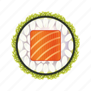 asia, asian, delicacy, dinner, fresh, gourmet, green, japan, japanese, lunch, meal, restaurant, rice, roll, salmon, seafood, sushi, traditional icon