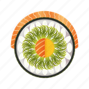asia, asian, delicacy, dinner, fresh, gourmet, japan, japanese, lunch, meal, mixed, restaurant, rice, roll, salmon, seafood, sushi, traditional icon