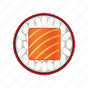 asia, asian, delicacy, dinner, fresh, gourmet, japan, japanese, lunch, meal, red, restaurant, rice, roll, salmon, seafood, sushi, traditional icon
