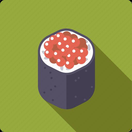 caviar, food, japan, rice, roll, seafood, sushi icon