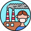 air, contamination, environment, factory, mask, pollution, protection icon