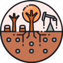 exhaustion, land, resources, deforestation, environment, nature, soil icon