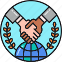 agreement, business, global, handshake, international, partners, partnership icon