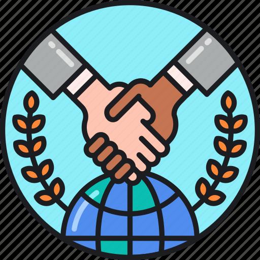 agreement, business, global, handshake, international, partners, partnership icon