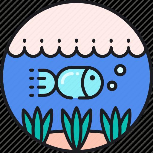 below, fish, life, marine, ocean, sea, water icon