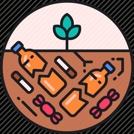 contamination, degradation, harmful, litter, pollution, soil, substances icon