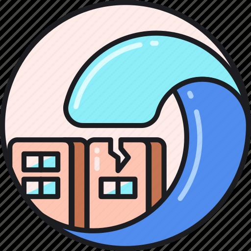 disaster, flood, natural, ocean, sea, tsunami, wave icon