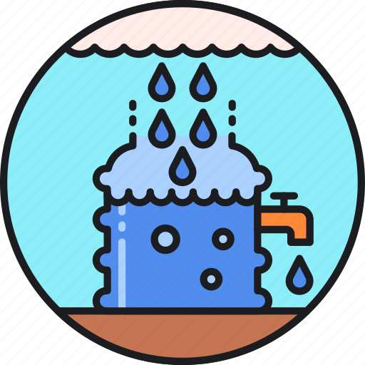 catchment, collection, harvesting, rainwater, reservoir, system, water icon