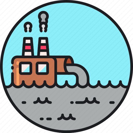 contamination, factory, pollutant, pollution, waste, wastewater, water icon