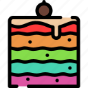 cake, dessert, rainbow, sweet icon