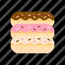 bakery, dessert, eclair, pastry