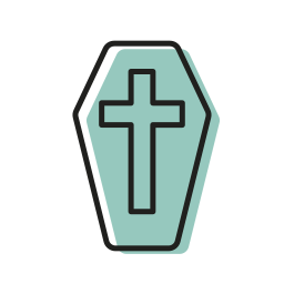 coffin, cross, dead, halloween, mummy, scary, sweet icon