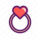 filled, heart, love, ring, sweet, valentine, wedding icon