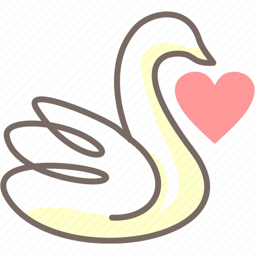 heart, love, single, swan, wedding icon