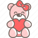 bear, gift, ribbon, she, teddy, valentine icon