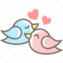 birds, couple, cuddle, hearts, love, sweet icon
