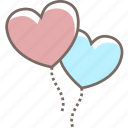 balloons, couple, heart, love, valentines icon