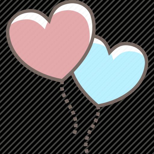 balloons, couple, heart, love, valentines icon