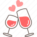 celebrate, cheers, couple, date, valentines, wine icon