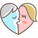 couple, heart, kiss, love, romance icon