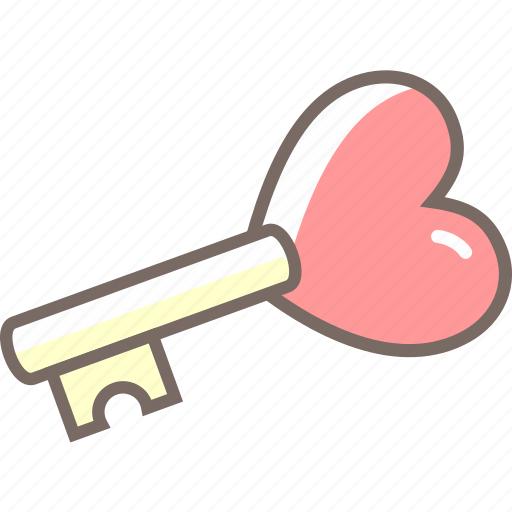 heart, key, love, secure, unlock icon