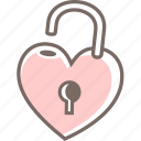 heart, lock, love, open, unlock icon