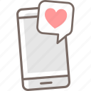 date, love, message, romantic, sweet, text icon