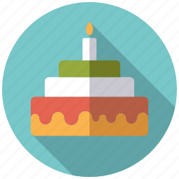 birthday, cake, candle, candy, pastry, sweets, tarte icon