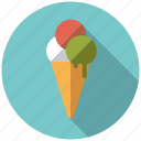 cone, dessert, ice cream, italian, scoops, sweets, waffle icon