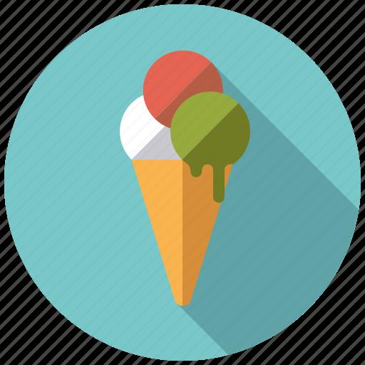 cone, dessert, ice cream, italian, scoops, sweets, waffle icon
